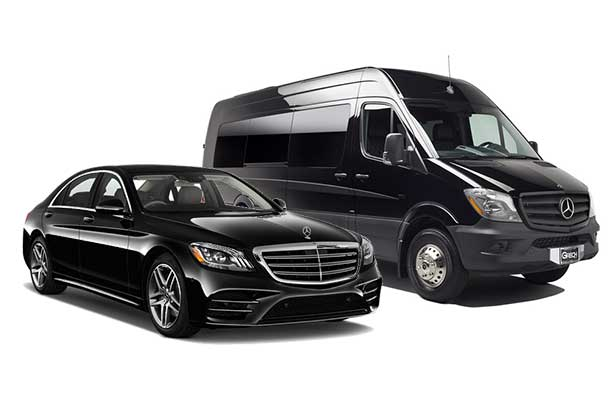 Side view of Mercedes S Class Sedan and Sprinter Van available for rent from LimoRSVP in Chicago, IL