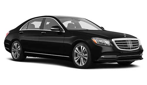 Side view of Mercedes S Class sedan available for rent from LimoRSVP in Chicago, IL